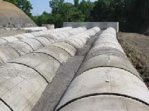 Photo of flowable fill between large concrete culverts
