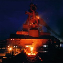 Night time photo of a steel mill
