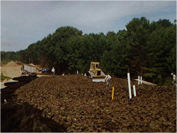 Photo of bulldozer creating a structural fill