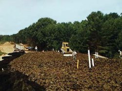 Photo of shredded tires used as lightweight aggregate in an embankment.